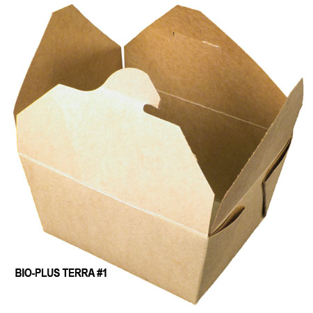 Fold Pak PLA lined paper containers for hot or cold foods compostable bio plus